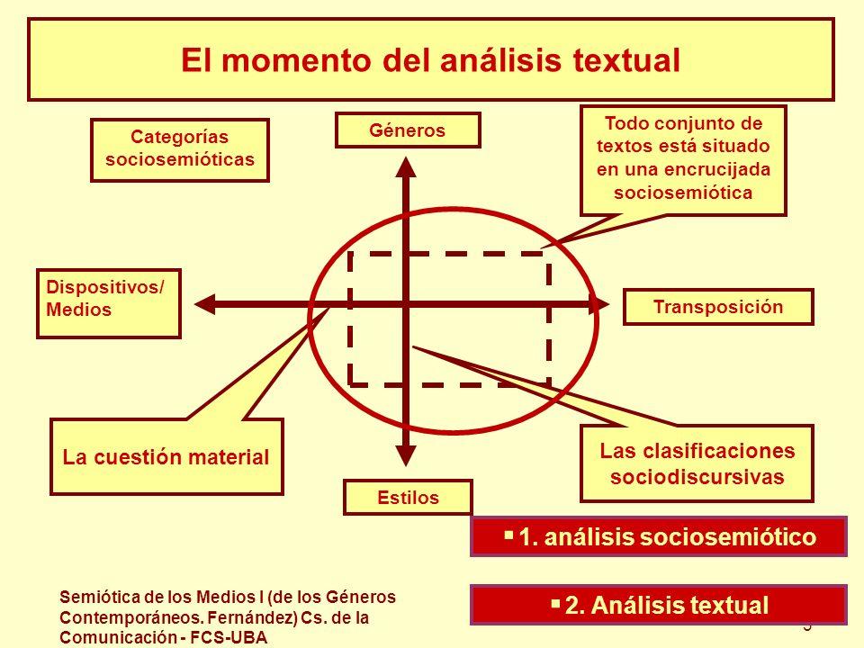 Semiótica de los Medios I (de los Géneros Contemporáneos. Fernández) Cs. de la Comunicación - FCS-UBA 3 El momento del análisis textual Todo conjunto