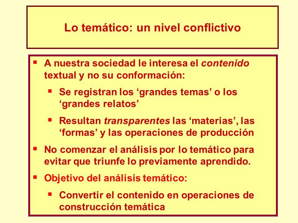 Lo temático: un nivel conflictivo A nuestra sociedad le interesa el contenido textual y no su conformación: Se registran los grandes temas o los grand