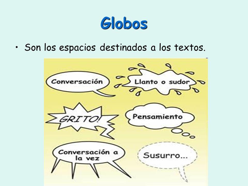 Globos Son los espacios destinados a los textos.