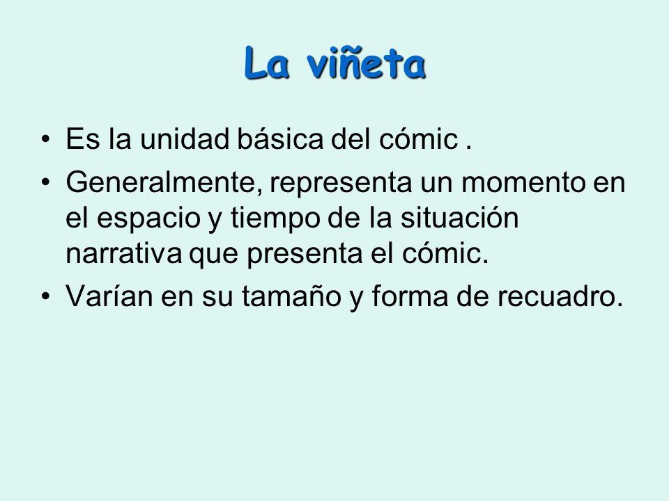 La viñeta Es la unidad básica del cómic. Generalmente, representa un momento en el espacio y tiempo de la situación narrativa que presenta el cómic. V