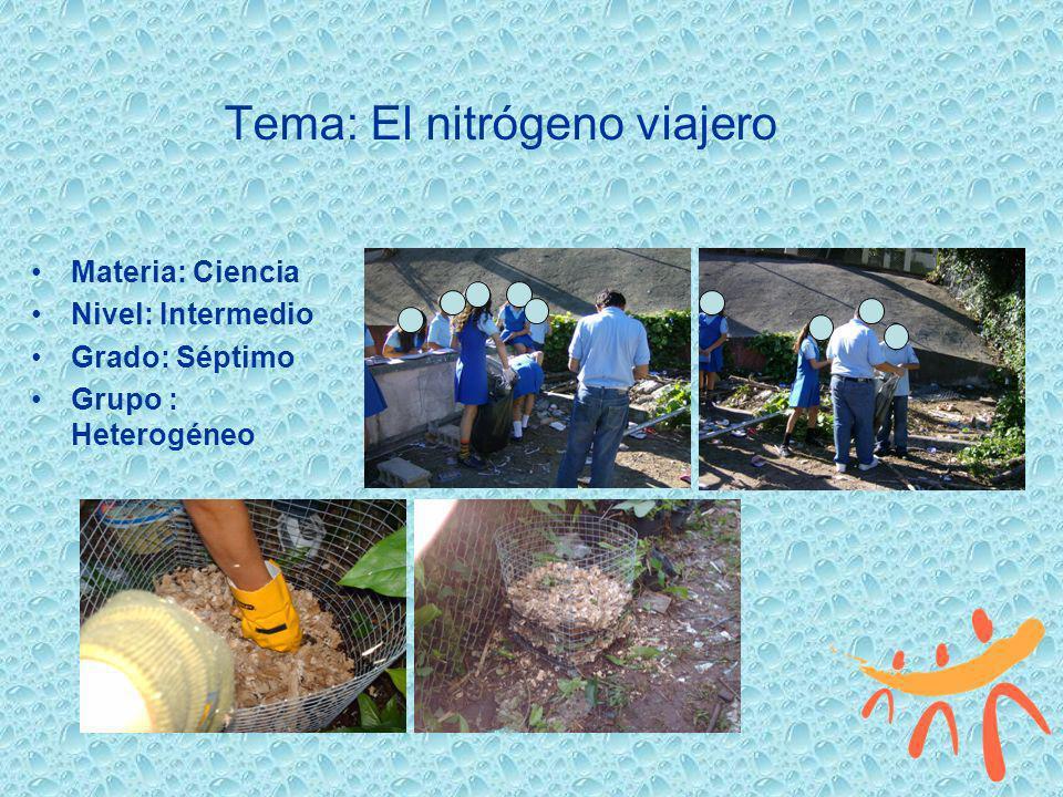 Tema: El nitrógeno viajero Materia: Ciencia Nivel: Intermedio Grado: Séptimo Grupo : Heterogéneo