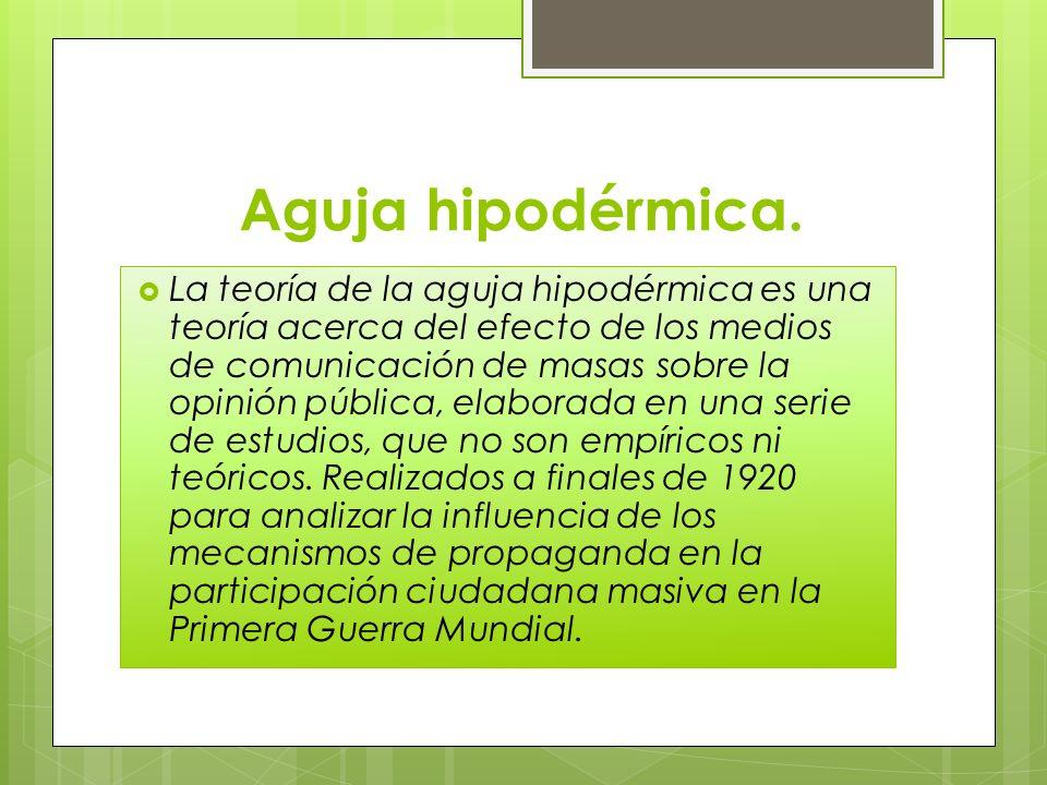 Aguja hipodérmica. La teoría de la aguja hipodérmica es una teoría acerca del efecto de los medios de comunicación de masas sobre la opinión pública,