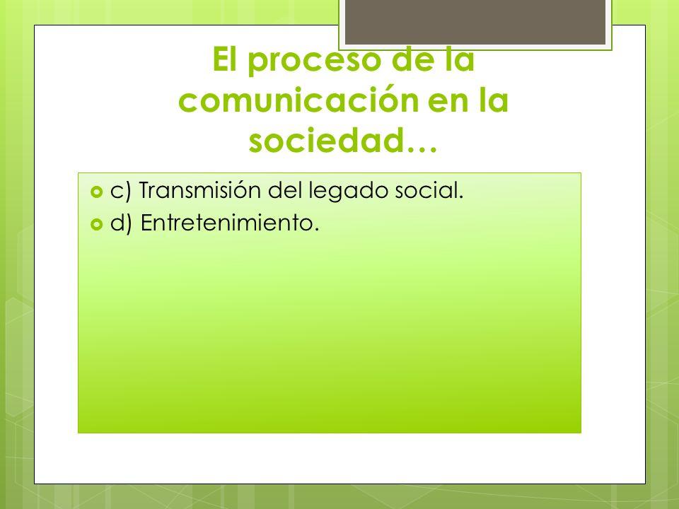 El proceso de la comunicación en la sociedad… c) Transmisión del legado social. d) Entretenimiento.