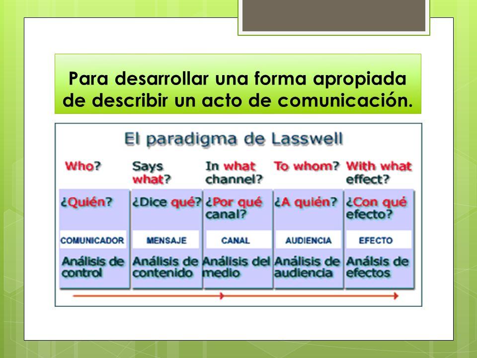 Para desarrollar una forma apropiada de describir un acto de comunicación.