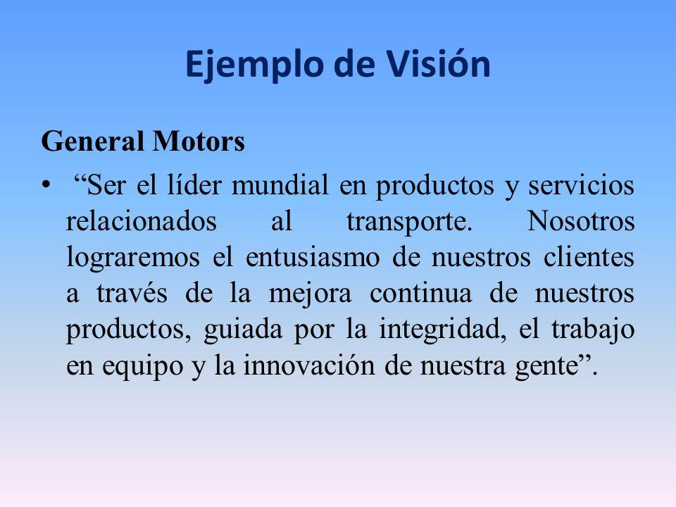 Ejemplo de Visión General Motors Ser el líder mundial en productos y servicios relacionados al transporte. Nosotros lograremos el entusiasmo de nuestr