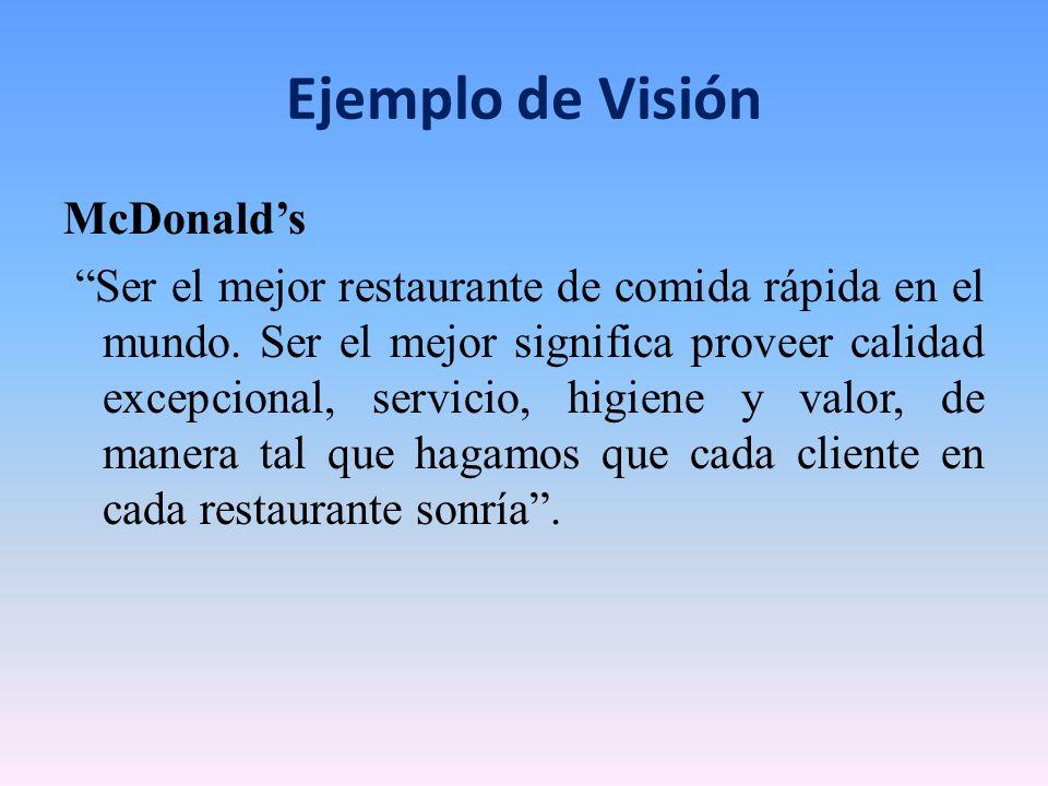 Ejemplo de Visión McDonalds Ser el mejor restaurante de comida rápida en el mundo. Ser el mejor significa proveer calidad excepcional, servicio, higie