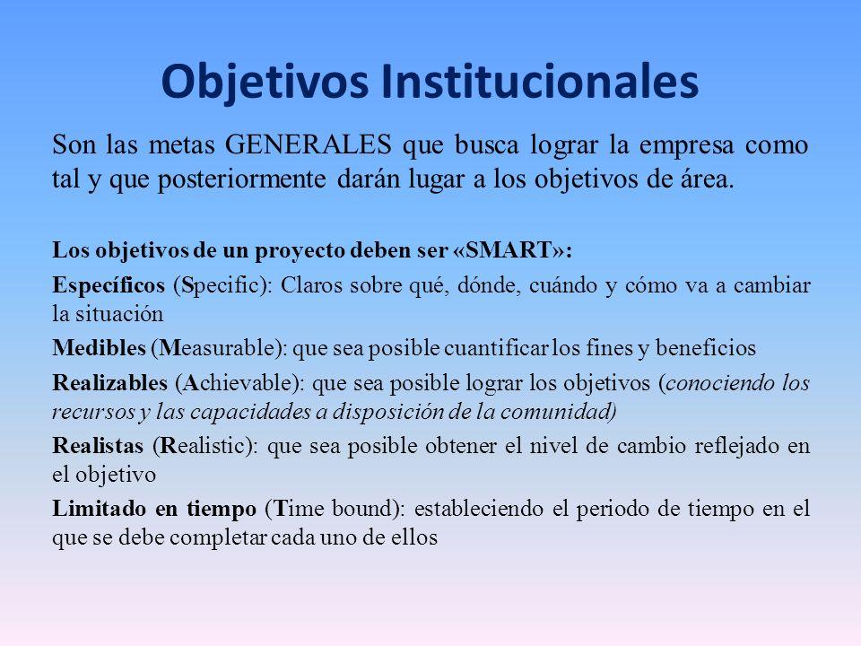 Objetivos Institucionales Son las metas GENERALES que busca lograr la empresa como tal y que posteriormente darán lugar a los objetivos de área. Los o