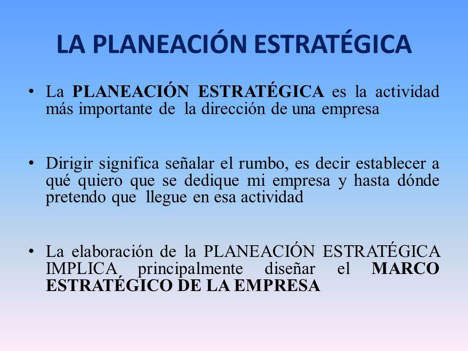 LA PLANEACIÓN ESTRATÉGICA La PLANEACIÓN ESTRATÉGICA es la actividad más importante de la dirección de una empresa Dirigir significa señalar el rumbo,