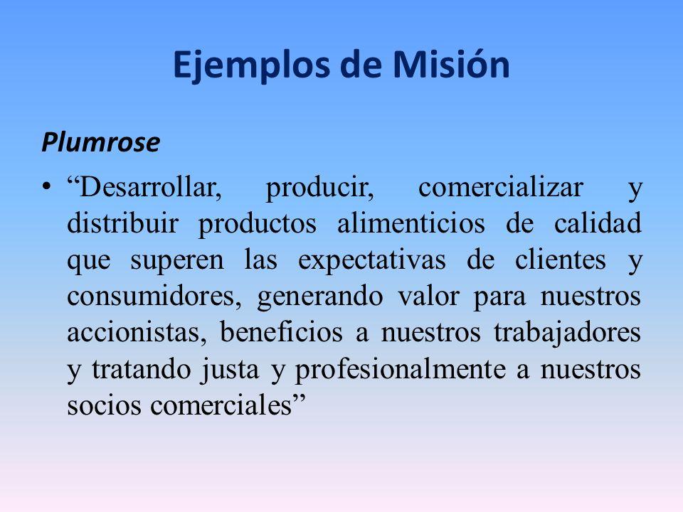 Ejemplos de Misión Plumrose Desarrollar, producir, comercializar y distribuir productos alimenticios de calidad que superen las expectativas de client