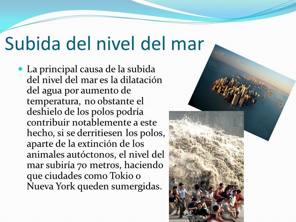 Subida del nivel del mar La principal causa de la subida del nivel del mar es la dilatación del agua por aumento de temperatura, no obstante el deshie