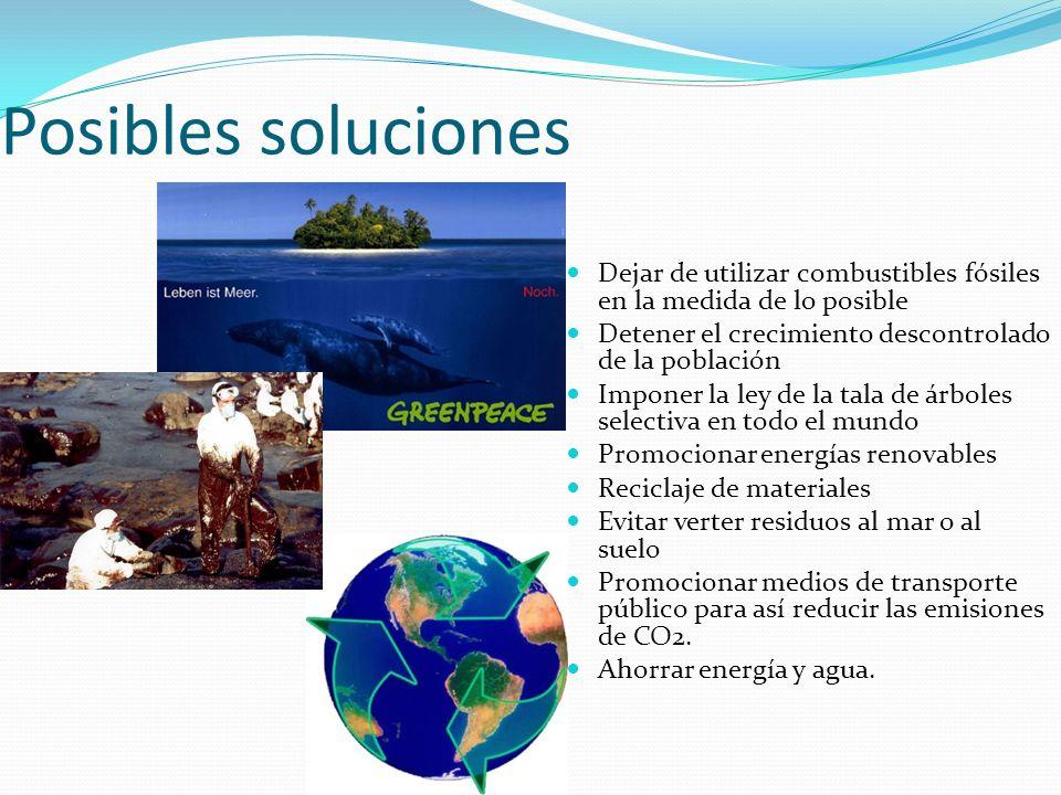 Posibles soluciones Dejar de utilizar combustibles fósiles en la medida de lo posible Detener el crecimiento descontrolado de la población Imponer la ley de la tala de árboles selectiva en todo el mundo Promocionar energías renovables Reciclaje de materiales Evitar verter residuos al mar o al suelo Promocionar medios de transporte público para así reducir las emisiones de CO2.