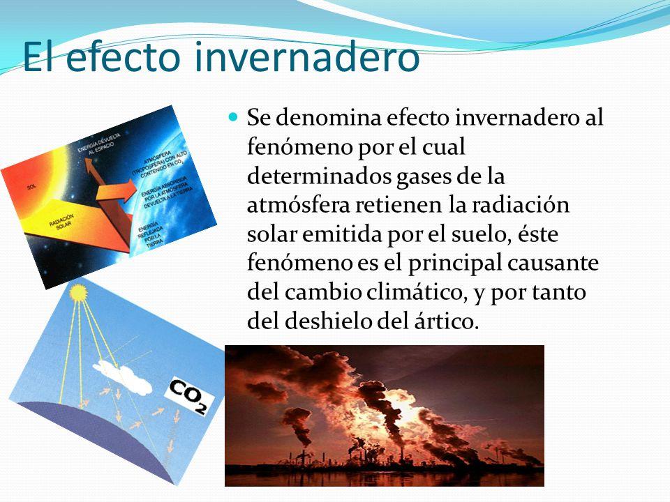 El efecto invernadero Se denomina efecto invernadero al fenómeno por el cual determinados gases de la atmósfera retienen la radiación solar emitida po