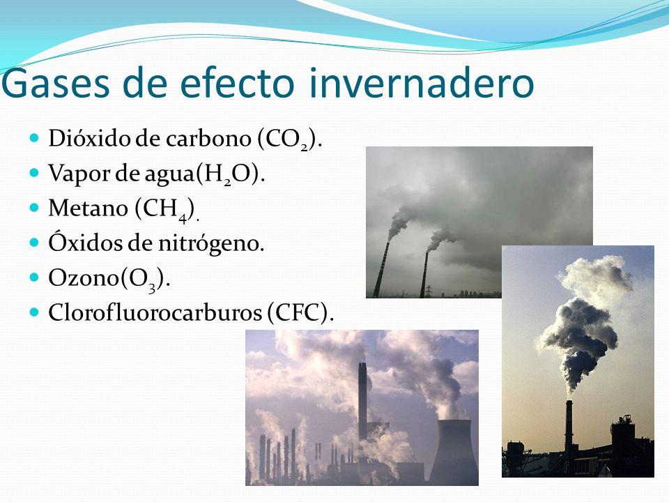 Gases de efecto invernadero Dióxido de carbono (CO 2 ). Vapor de agua(H 2 O). Metano (CH 4 ). Óxidos de nitrógeno. Ozono(O 3 ). Clorofluorocarburos (C