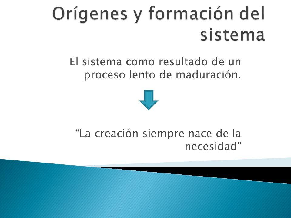 El sistema como resultado de un proceso lento de maduración. La creación siempre nace de la necesidad