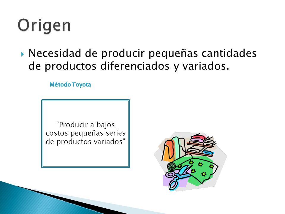 Necesidad de producir pequeñas cantidades de productos diferenciados y variados. Producir a bajos costos pequeñas series de productos variados