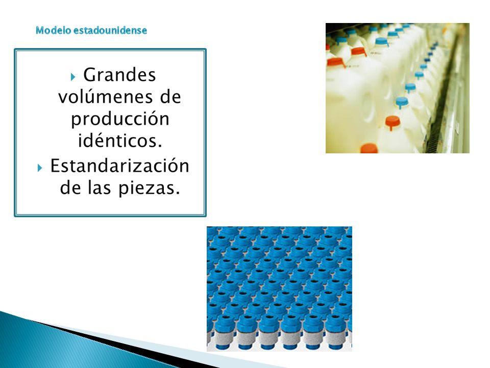 Grandes volúmenes de producción idénticos. Estandarización de las piezas.
