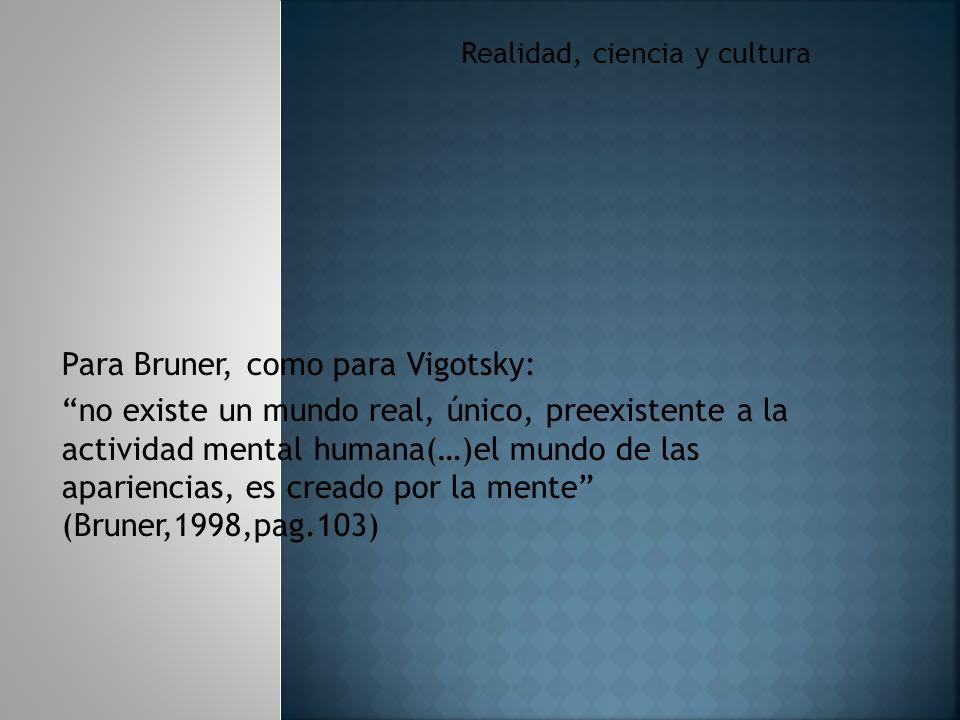 Realidad, ciencia y cultura Para Bruner, como para Vigotsky: no existe un mundo real, único, preexistente a la actividad mental humana(…)el mundo de las apariencias, es creado por la mente (Bruner,1998,pag.103)