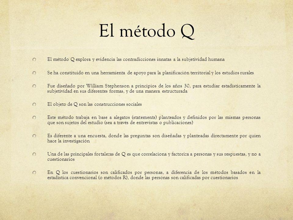 El método Q explora y evidencia las contradicciones innatas a la subjetividad humana Se ha constituido en una herramienta de apoyo para la planificaci