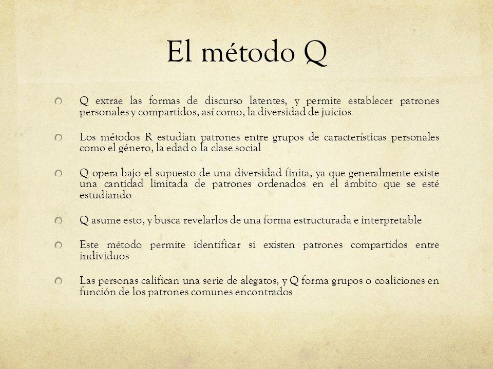 El método Q Q extrae las formas de discurso latentes, y permite establecer patrones personales y compartidos, así como, la diversidad de juicios Los m