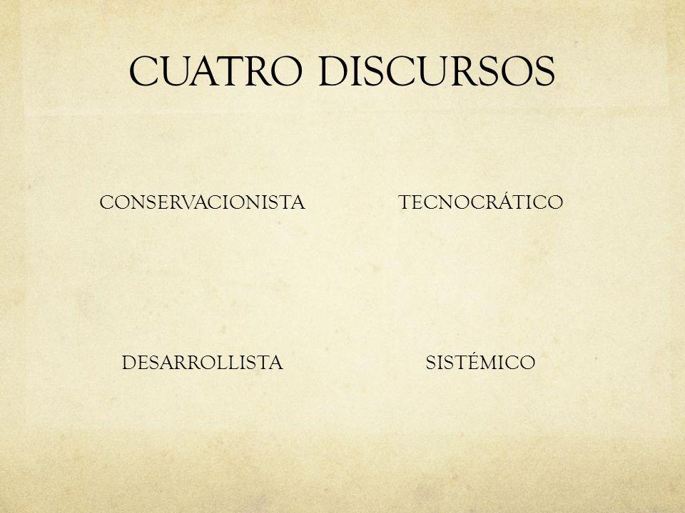 CUATRO DISCURSOS CONSERVACIONISTA DESARROLLISTA TECNOCRÁTICO SISTÉMICO