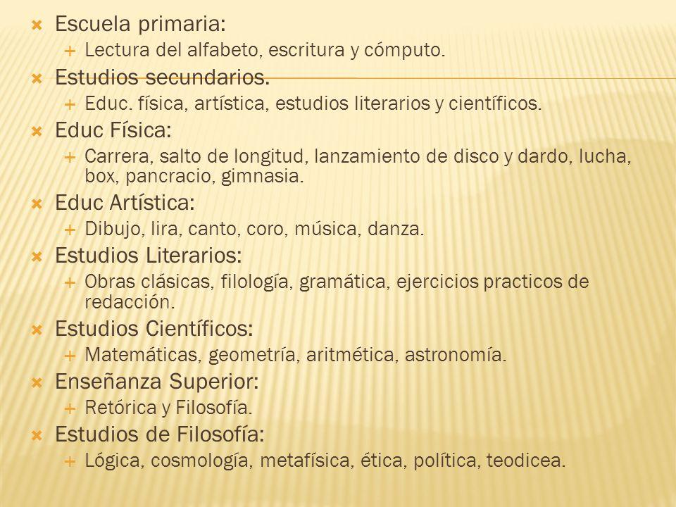 Escuela primaria: Lectura del alfabeto, escritura y cómputo.