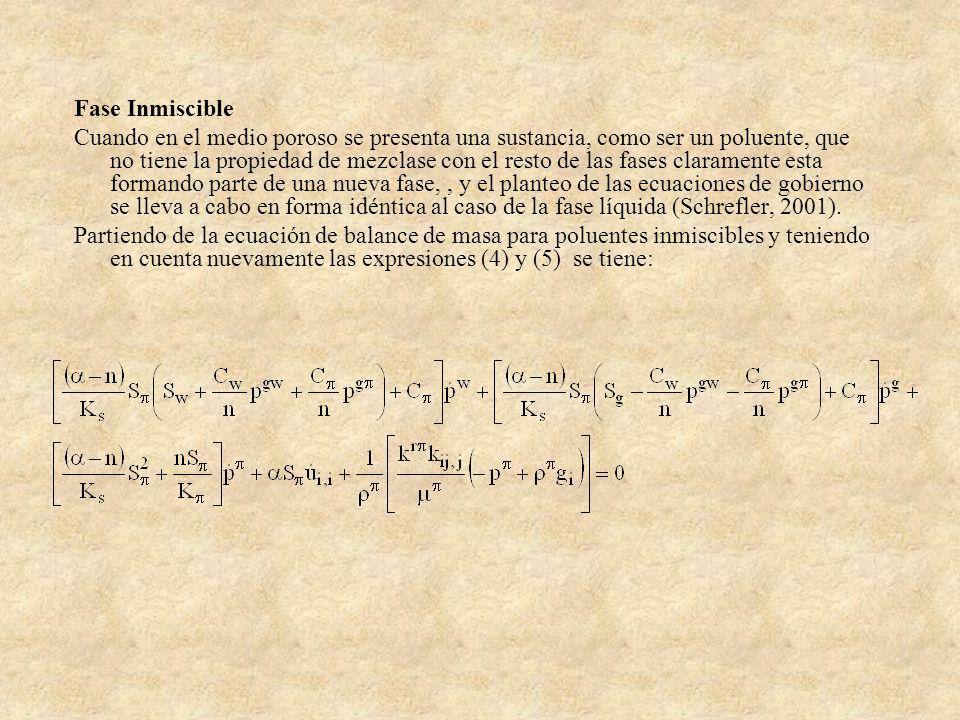 Fase Inmiscible Cuando en el medio poroso se presenta una sustancia, como ser un poluente, que no tiene la propiedad de mezclase con el resto de las f