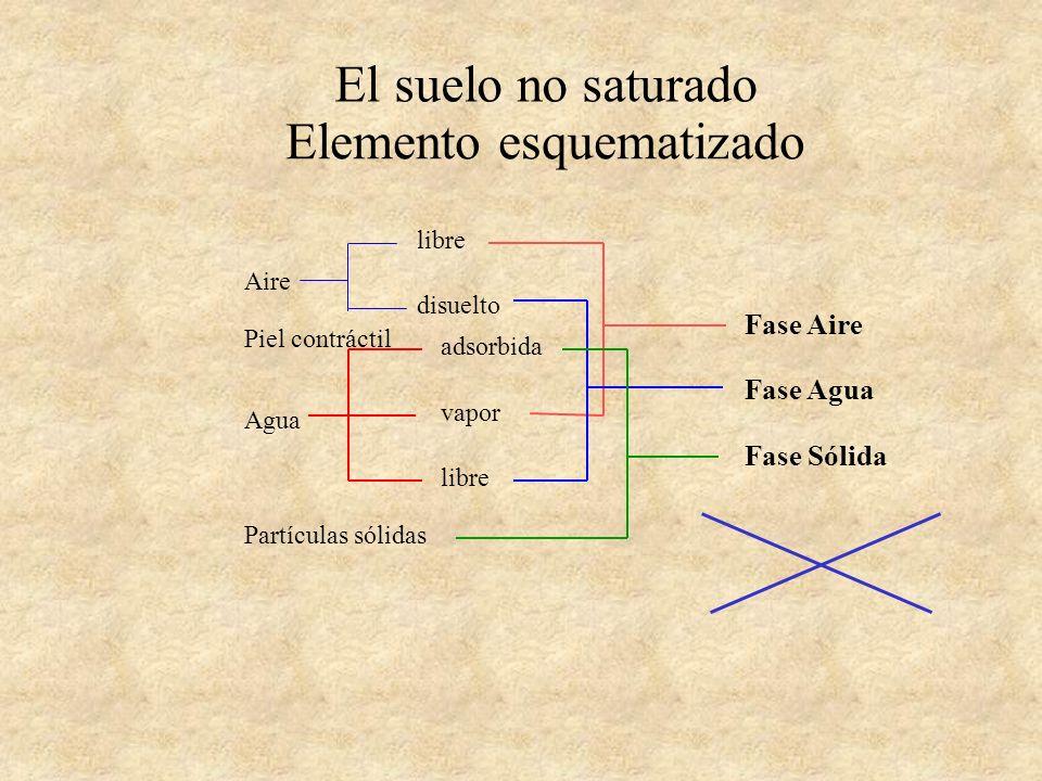 El suelo no saturado Esquema simplificado Fase Aire Fase Agua Fase Sólida Fase Inmiscible