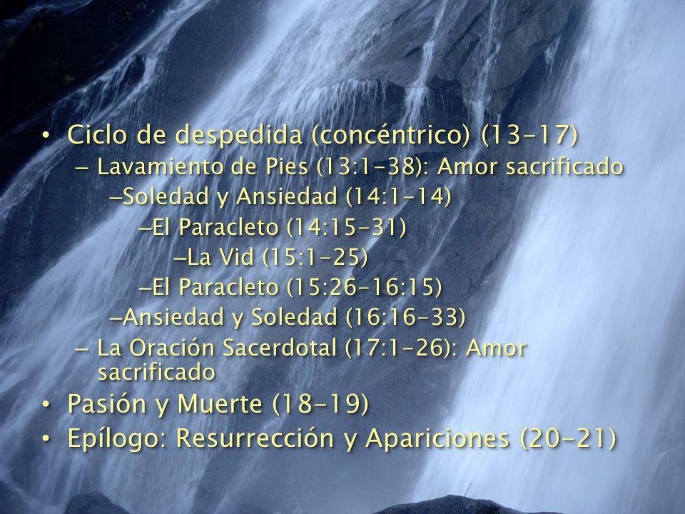 Ciclo de despedida (concéntrico) (13-17) Ciclo de despedida (concéntrico) (13-17) – Lavamiento de Pies (13:1-38): Amor sacrificado – Soledad y Ansieda