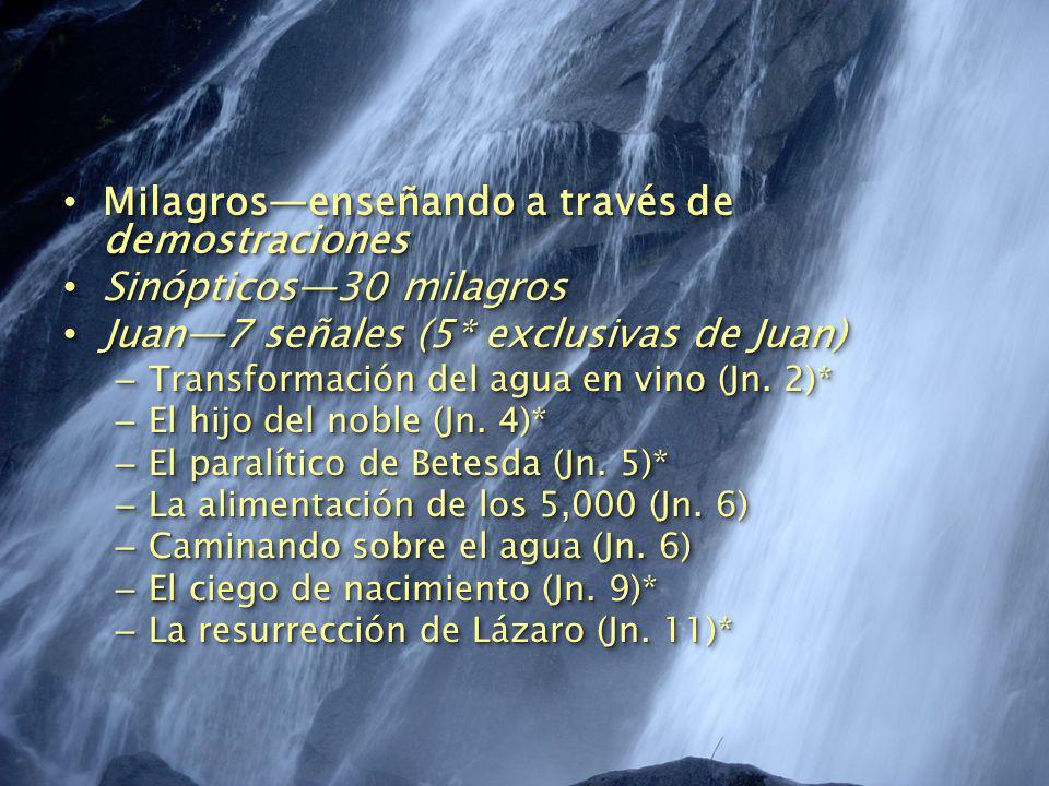 Milagrosenseñando a través de demostraciones Milagrosenseñando a través de demostraciones Sinópticos30 milagros Sinópticos30 milagros Juan7 señales (5