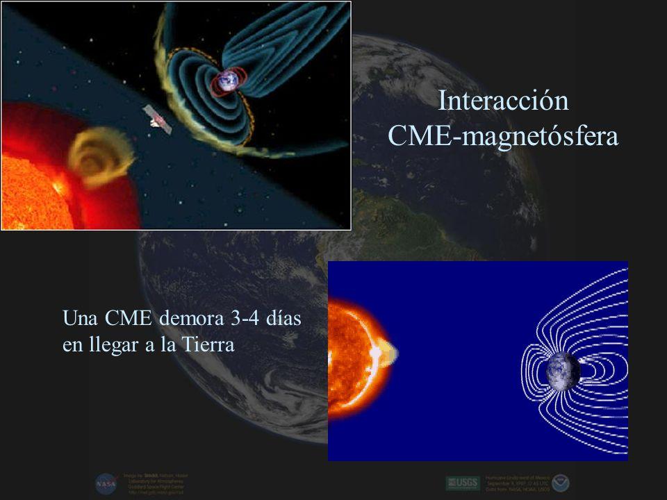Eyecciones de masa coronales (CME) Erupción de una gigantesca burbuja de material desde la alta atmósfera Solar (corona). Flujo de partículas con carg
