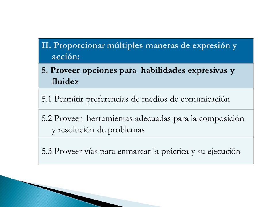 II.Proporcionar múltiples maneras de expresión y acción: 5.