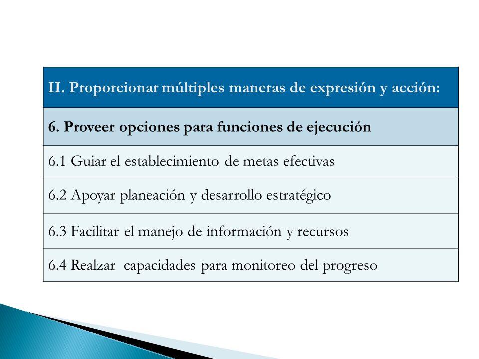 II.Proporcionar múltiples maneras de expresión y acción: 6.