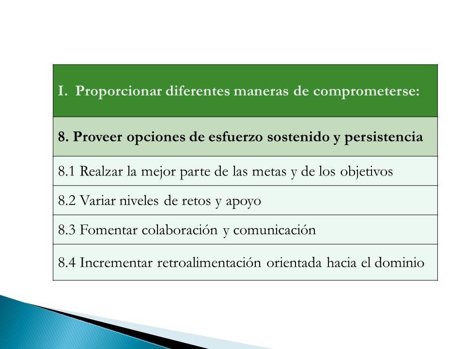 I.Proporcionar diferentes maneras de comprometerse: 8.