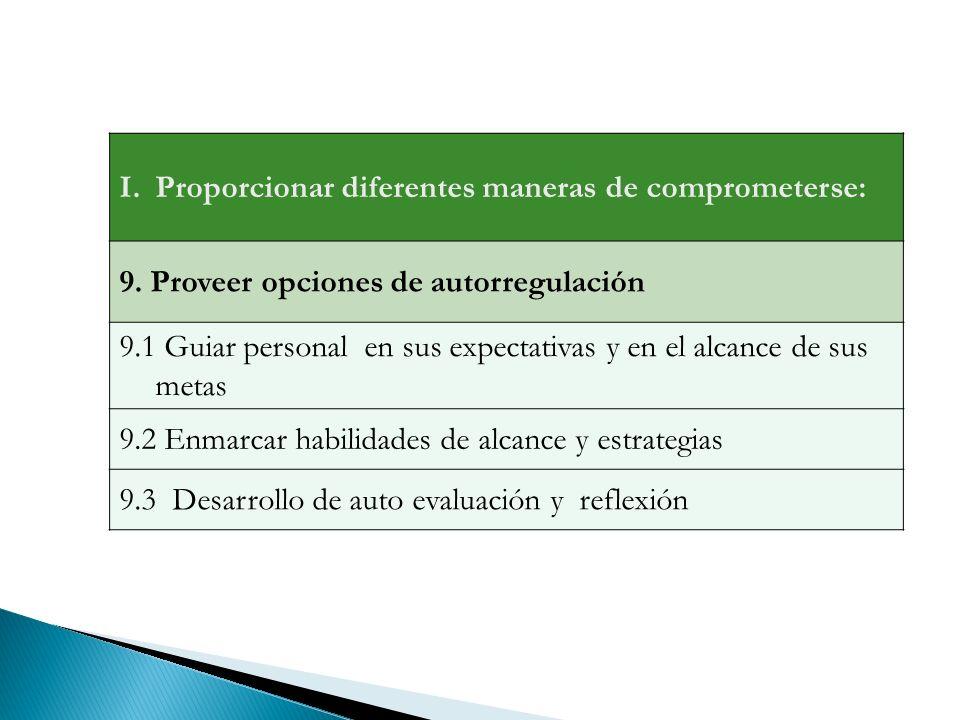I.Proporcionar diferentes maneras de comprometerse: 9.