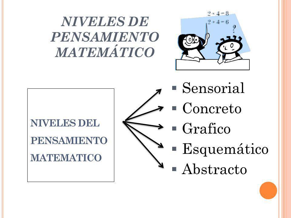 NIVELES DE PENSAMIENTO MATEMÁTICO NIVELES DEL PENSAMIENTO MATEMATICO Sensorial Concreto Grafico Esquemático Abstracto