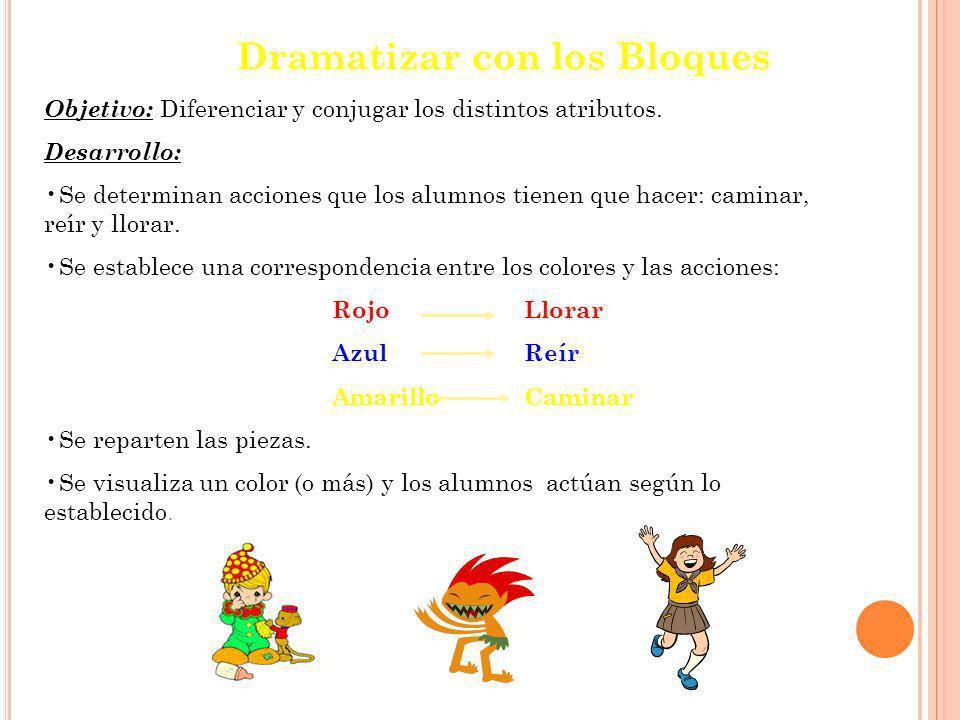 Dramatizar con los Bloques Objetivo: Diferenciar y conjugar los distintos atributos.