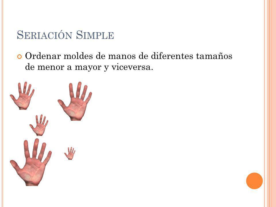 S ERIACIÓN S IMPLE Ordenar moldes de manos de diferentes tamaños de menor a mayor y viceversa.