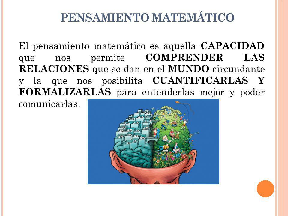PENSAMIENTO MATEMÁTICO El pensamiento matemático es aquella CAPACIDAD que nos permite COMPRENDER LAS RELACIONES que se dan en el MUNDO circundante y la que nos posibilita CUANTIFICARLAS Y FORMALIZARLAS para entenderlas mejor y poder comunicarlas.