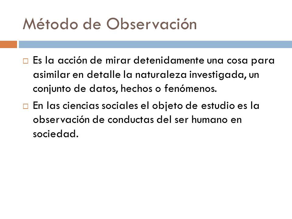 Método de Observación Es la acción de mirar detenidamente una cosa para asimilar en detalle la naturaleza investigada, un conjunto de datos, hechos o