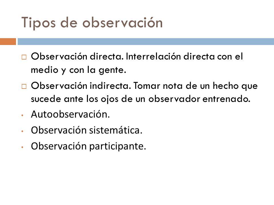 Tipos de observación Observación directa. Interrelación directa con el medio y con la gente. Observación indirecta. Tomar nota de un hecho que sucede