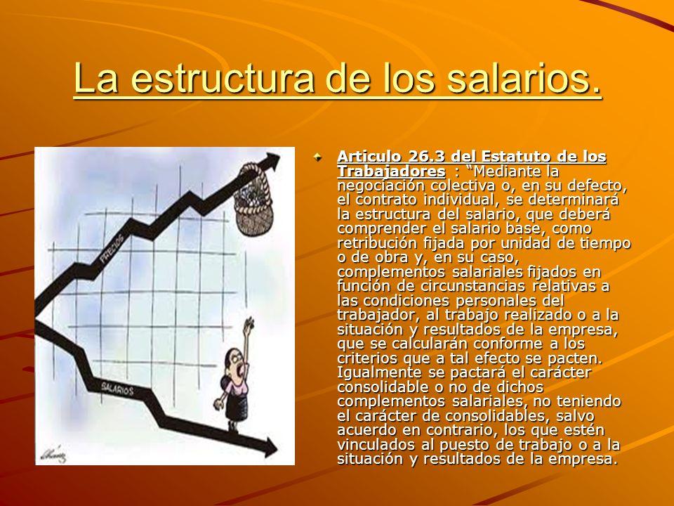 La estructura de los salarios. Articulo 26.3 del Estatuto de los Trabajadores : Mediante la negociación colectiva o, en su defecto, el contrato indivi