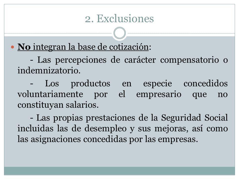 2. Exclusiones No integran la base de cotización: - Las percepciones de carácter compensatorio o indemnizatorio. - Los productos en especie concedidos