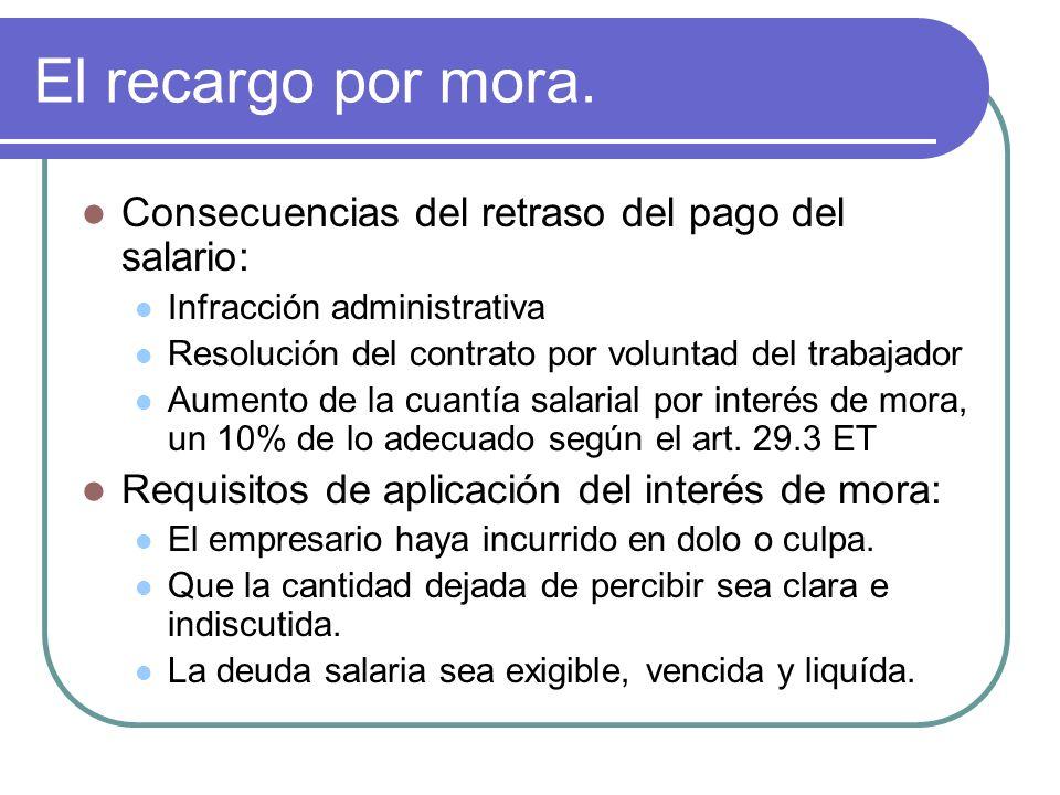 El recargo por mora. Consecuencias del retraso del pago del salario: Infracción administrativa Resolución del contrato por voluntad del trabajador Aum