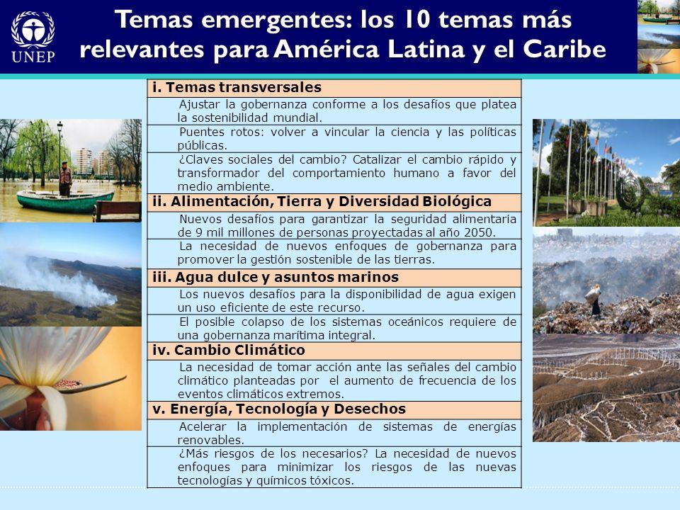 Temas emergentes: los 10 temas más relevantes para América Latina y el Caribe i. Temas transversales Ajustar la gobernanza conforme a los desafíos que