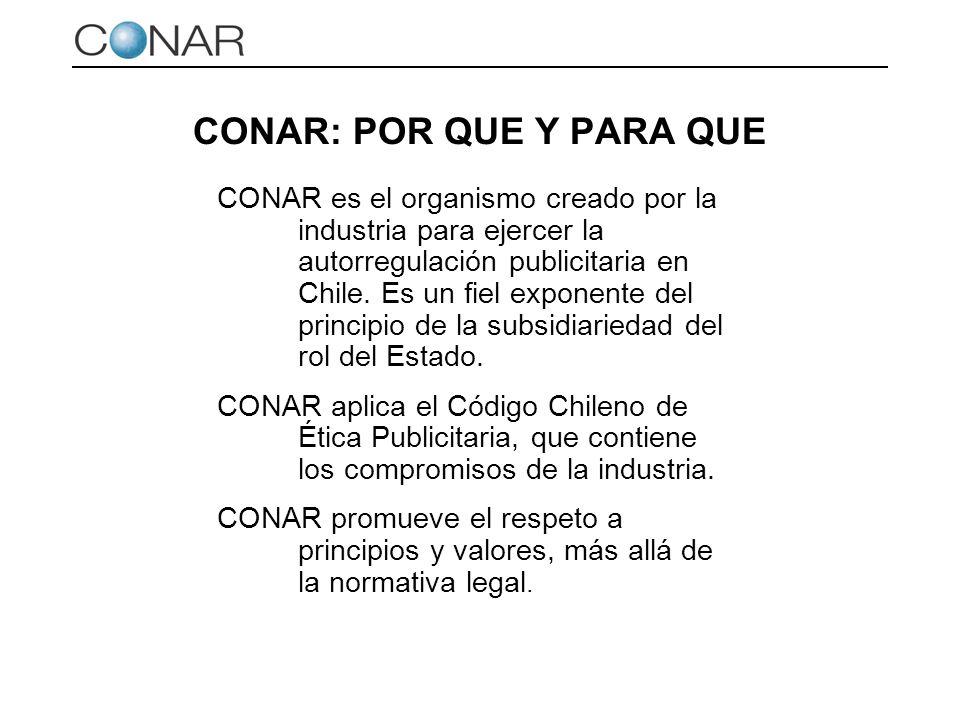CONAR: POR QUE Y PARA QUE CONAR es el organismo creado por la industria para ejercer la autorregulación publicitaria en Chile. Es un fiel exponente de