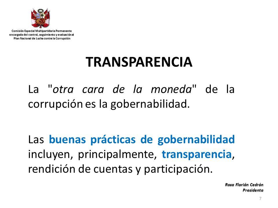 TRANSPARENCIA La otra cara de la moneda de la corrupción es la gobernabilidad.