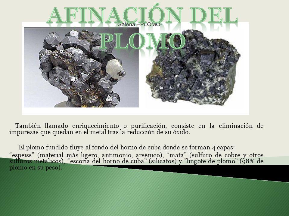 También llamado enriquecimiento o purificación, consiste en la eliminación de impurezas que quedan en el metal tras la reducción de su óxido. El plomo