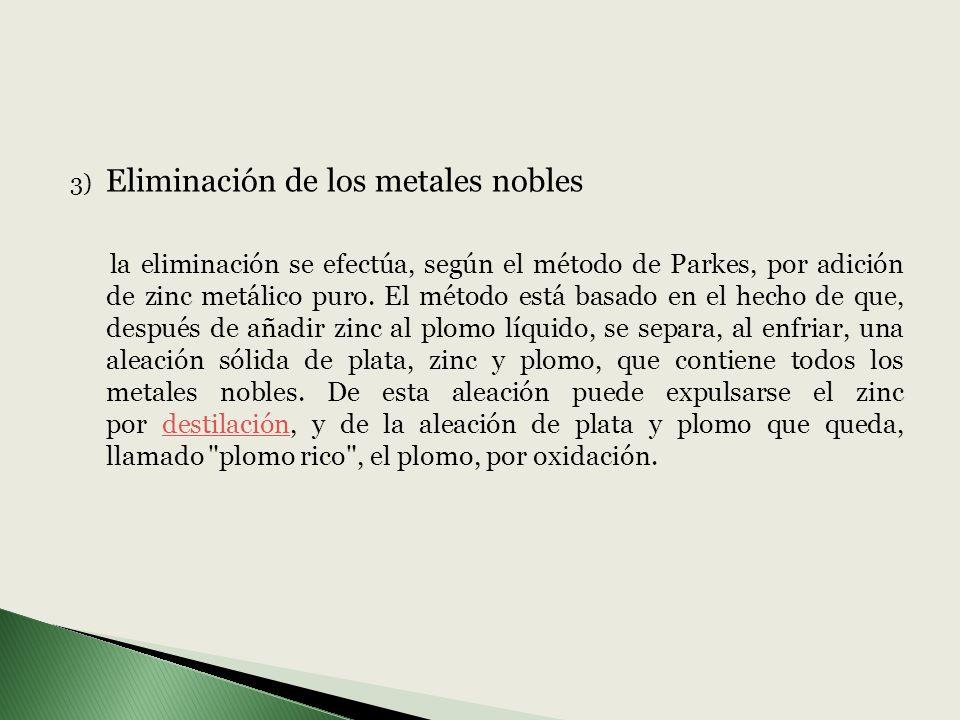 3) Eliminación de los metales nobles la eliminación se efectúa, según el método de Parkes, por adición de zinc metálico puro. El método está basado en
