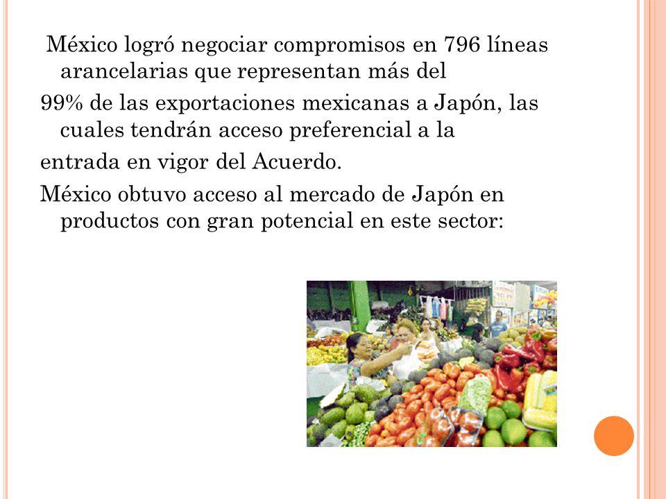 México logró negociar compromisos en 796 líneas arancelarias que representan más del 99% de las exportaciones mexicanas a Japón, las cuales tendrán ac