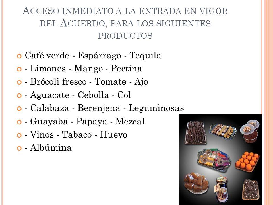 A CCESO INMEDIATO A LA ENTRADA EN VIGOR DEL A CUERDO, PARA LOS SIGUIENTES PRODUCTOS Café verde - Espárrago - Tequila - Limones - Mango - Pectina - Bró